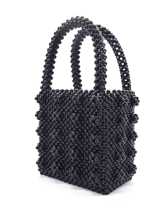 902d6889cae3e Amazon.com: Miuco Womens Beaded Handbags Handmade Weave Crystal Pearl Tote  Bags (Black): Shoes