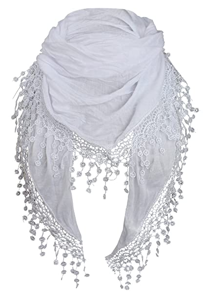 21d10e8e04c3 Piri Moda Foulard femme Foulard triangle avec pompons - -  Amazon.fr ...