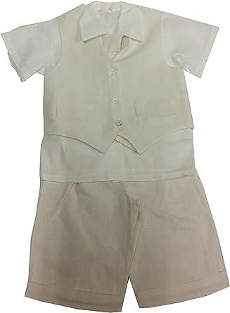 Conjunto CEREMONIE Garcon Bermuda, camisa, Lin blanco o beige blanco 6 Meses: Amazon.es: Ropa y accesorios