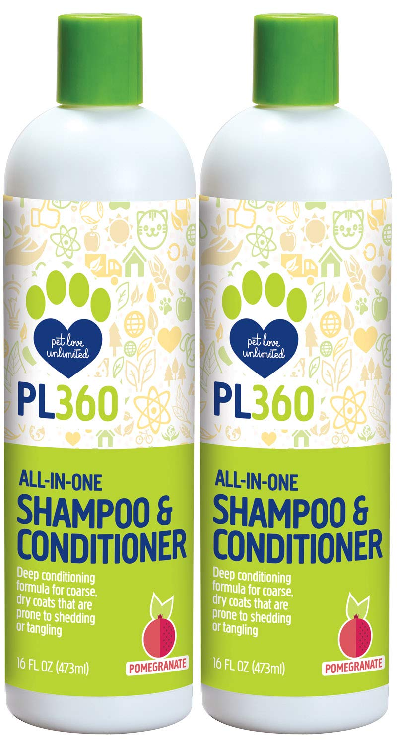 PL360 All-in-One Dog Shampoo & Conditioner, Fresh Pomegranate, 16 oz (2 Pack)