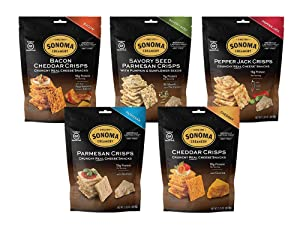 Sonoma Creamery Cheese Crisps Variety Pack Savory Seed Pepper Jack Real Cheese Snacks 2.25 Ounce 5 Count
