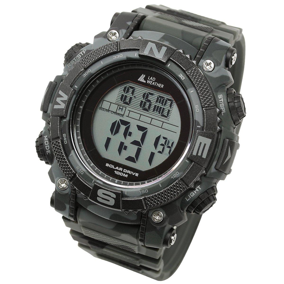 [Lad Weather] Digital reloj potente recargable Solar 100metros resistente al agua militar al aire libre SmartWatch