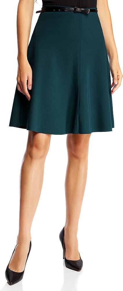 oodji Ultra Mujer Falda Godet con Cinturón, Verde, ES 34 / XXS ...