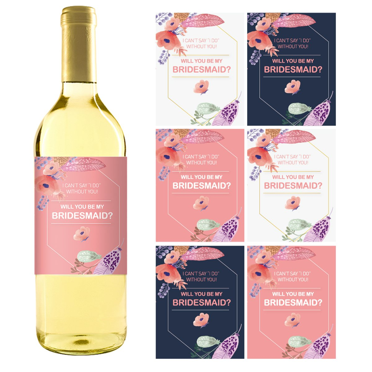 Amazon.com | 12 Will You Be My Bridesmaid Stickers or Wine Bottle ...