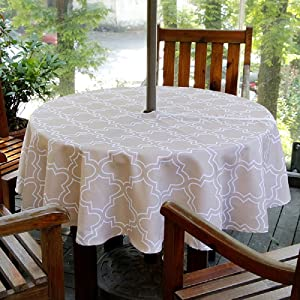 "Lamberia Patio Outdoor Umbrella Tablecloth with Zipper and Umbrella Hole, Water and Stain Resistant (60"" Round, Khaki)"