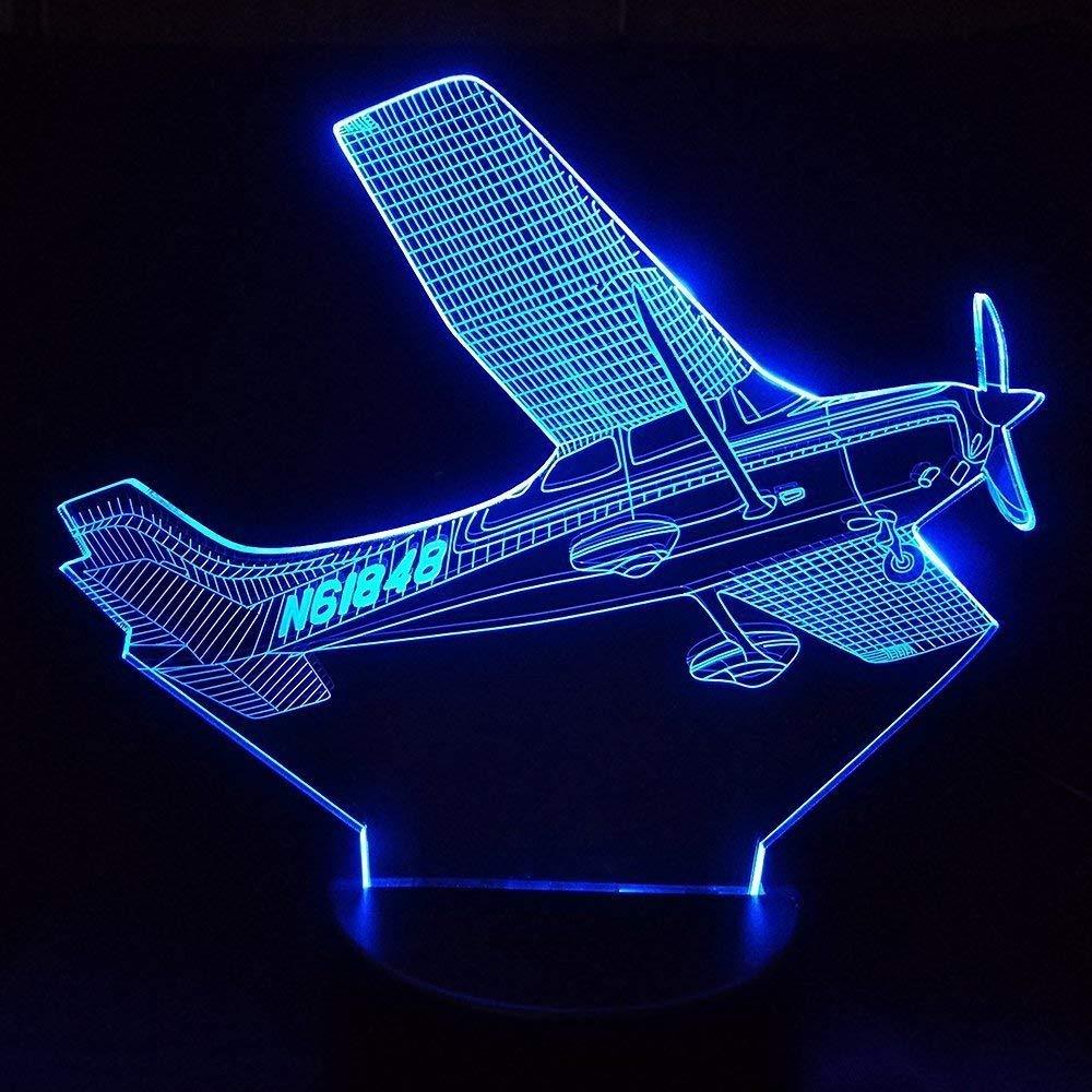 3D 飛行機 ナイトライト テーブル デスク 光学イリュージョンランプ 7色変化ライト LED テーブルランプ クリスマス ホーム ラブ ブリトデイ 子供 キッズ 装飾 おもちゃ ギフト B07HY957W5