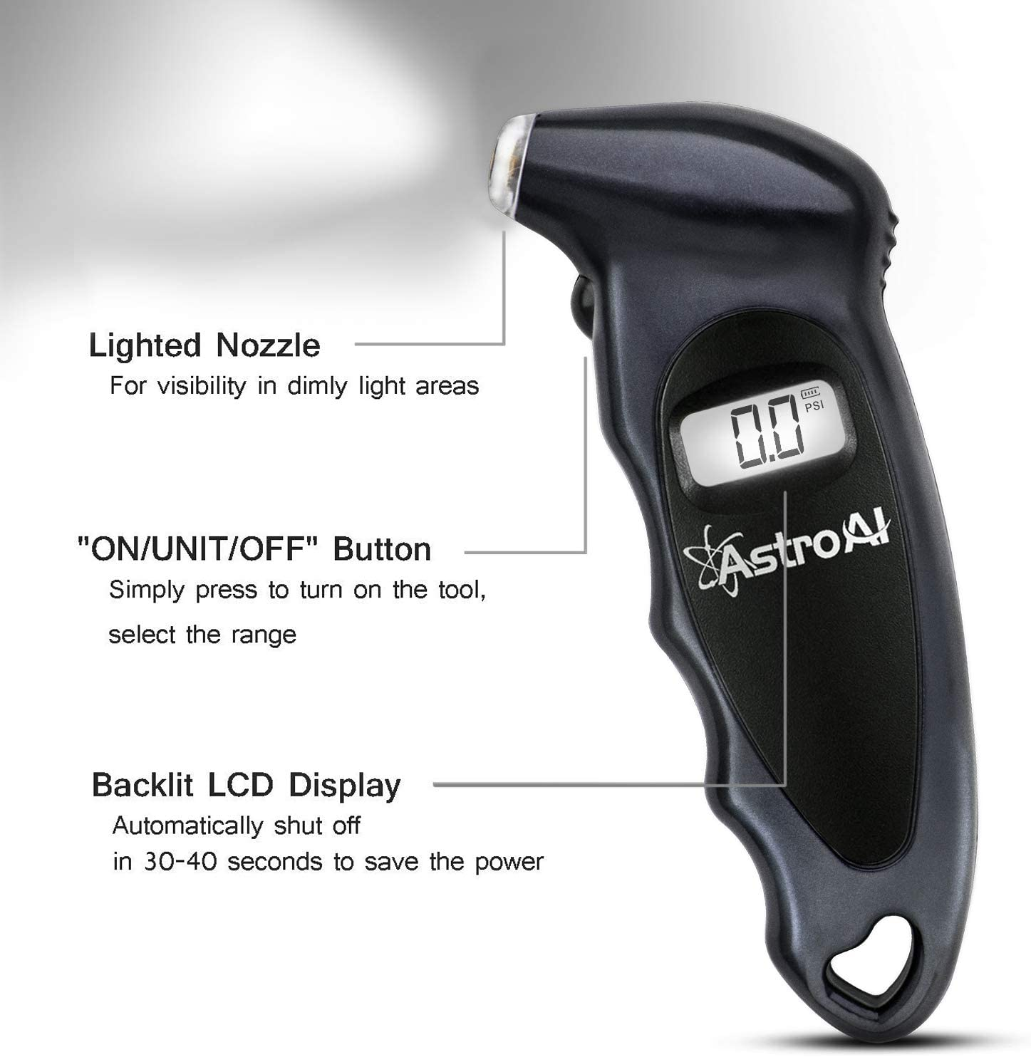 AstroAI Reifendruck Prüfer Digitaler Luftdruckprüfer Großem LCD-Display Autos