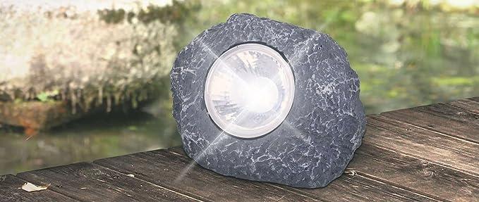 Deko Piedra Con Farol Solar Led Solar Luz Solar Jardin Lampara - Piedra-jardin