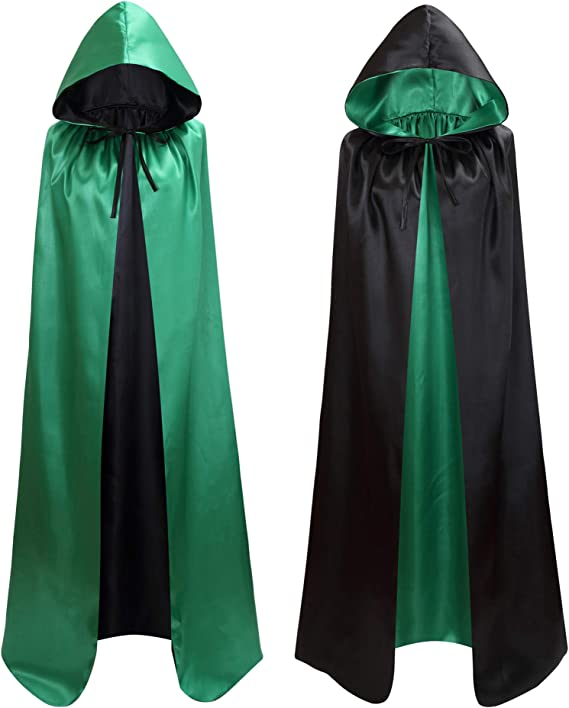 Makroyl Unisex Hooded Cloak Long Velvet Cape For Halloween Christmas Cosplay Costume
