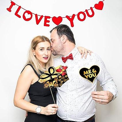 50 pezzi Wedding Photo Booth Props Accessori per addio al nubilato Bdecoll Forniture per feste di matrimonio addio al nubilato Ti amo Banner di ghirlande
