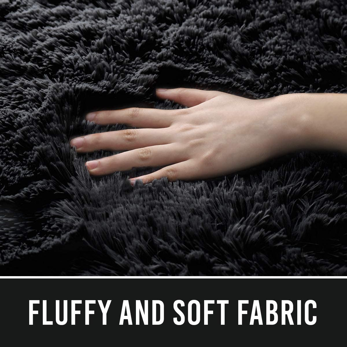 4x6 Feet Black Extra Comfy Furry Rugs Modern Solid Color Cute Carpets ECOBER Premium Velvet Fluffy Area Rug Plush Soft Carpet for Bedroom Living Room
