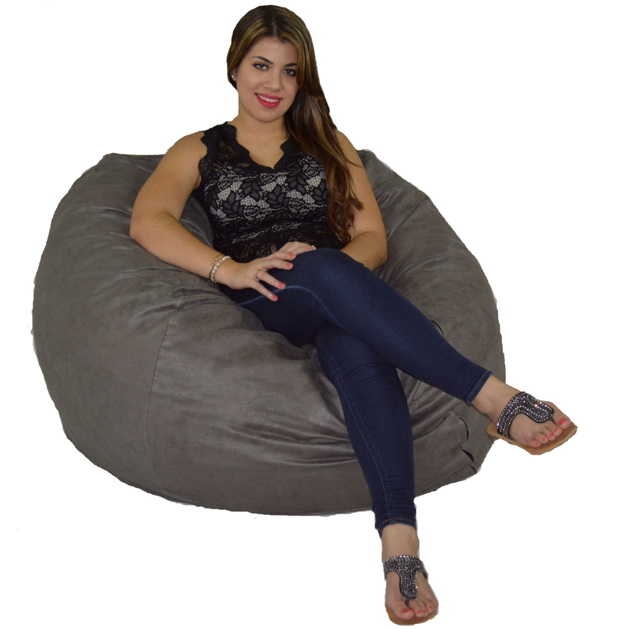 Bean Bag Chair 4' with 20 Cubic Feet of Premium Foam inside a Protective Liner Plus Removable Machine Wash Microfiber Cover