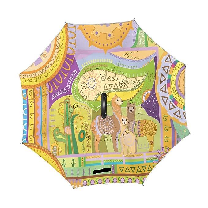 18c4536ac520 Amazon.com : Wamika Cute Funny Cartoon Alpaca Umbrella Reverse ...