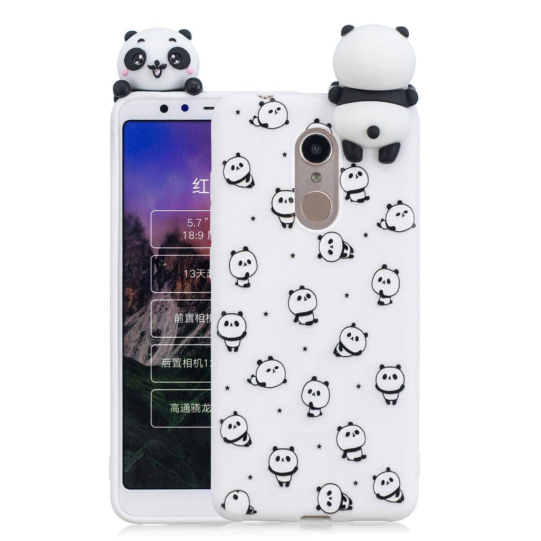 HopMore Coque Xiaomi Redmi 5 Plus Silicone Souple 3D Design Motif Licorne Panda Drô le Mignonne Etui Redmi 5 Plus É tui Antichoc Ultra Mince Fine Gel pour Fille Femme - Petit Panda