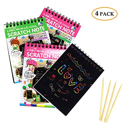 4 Pack Scratch Art Notes Rainbow Sketch Notebooks Pads Mini Magic Scratch  Off Note Paper with Wooden Stylus Arts & Crafts Kits for Girls Kids &  Adults