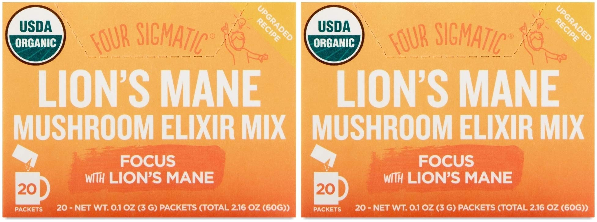 Four Sigmatic Focus with Lion's Mane Mushroom Elixir Mix (Pack of 2) With Mint Leaf, Star Anise and Stevia, 20 Count Each