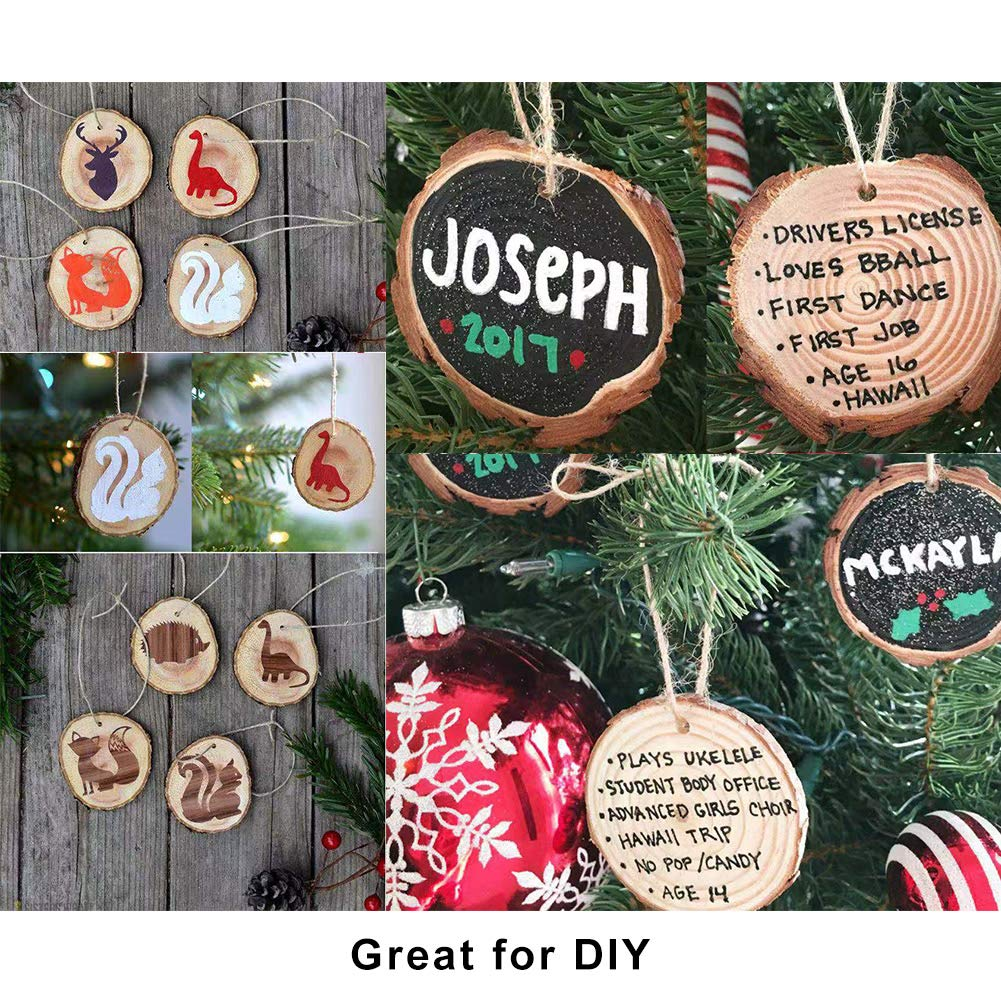 Christmas Ornaments DIY Crafts Decor,Bride /& Baby Shower Decoration Gift 7-8cm Coideal Natural Wood Slices 20 Pcs Unfinished Predrilled with Hole /& 33 Ft Jute Twine// Round Discs Rustic Wooden Circles for Wedding