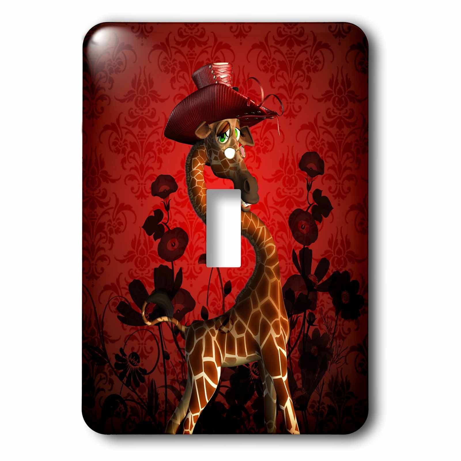 3dRose lsp_239735_1 the Lady Funny Giraffe with Hat Red Background Toggle Switch, Mixed