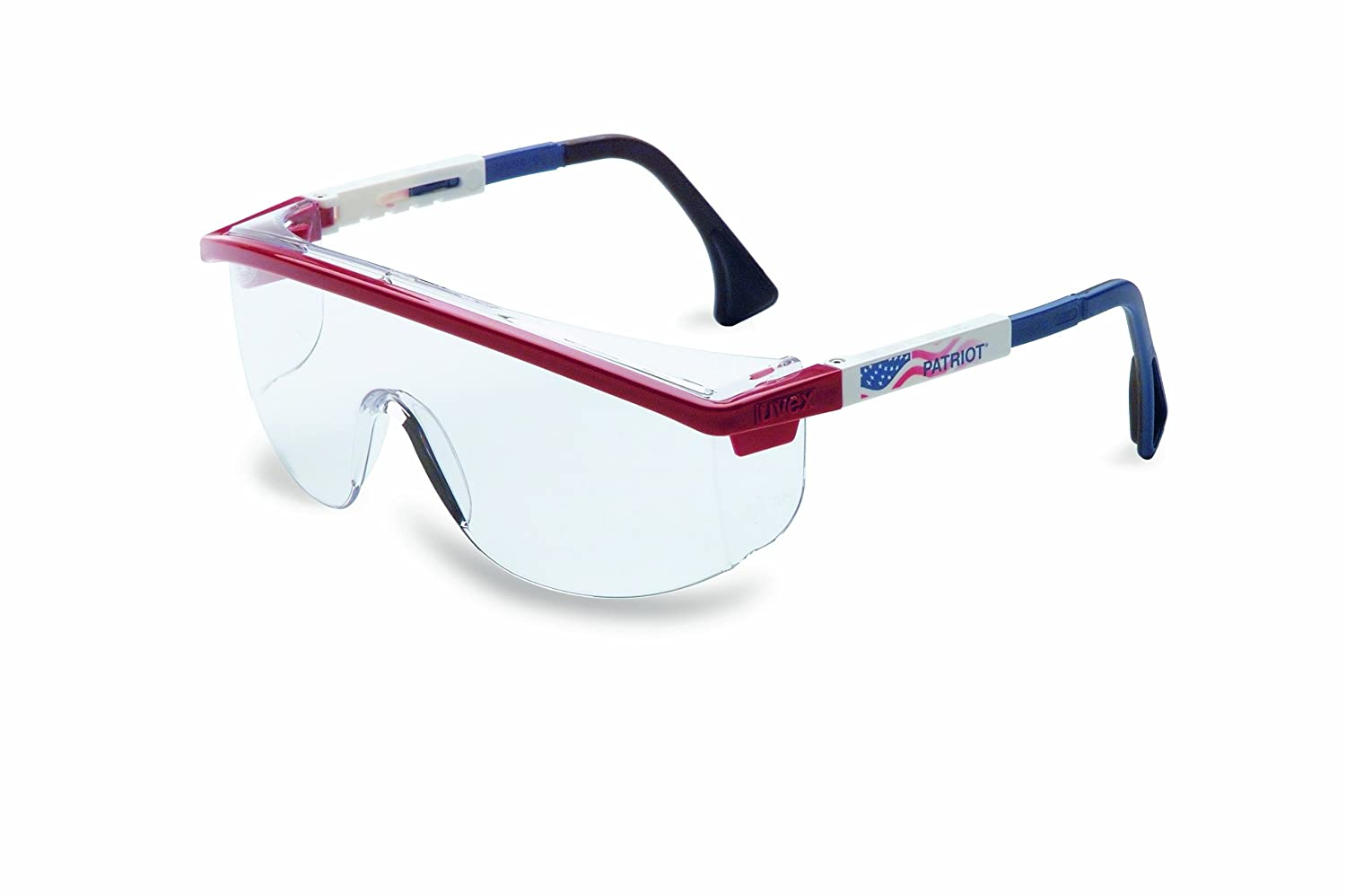 UVEX by Honeywell 763-S1169C Astrospec Series 3000 Safety Eyewear, Patriot RWB Frame, Clear Lens, Uvextreme Anti-fog Coating, Duoflex Temples