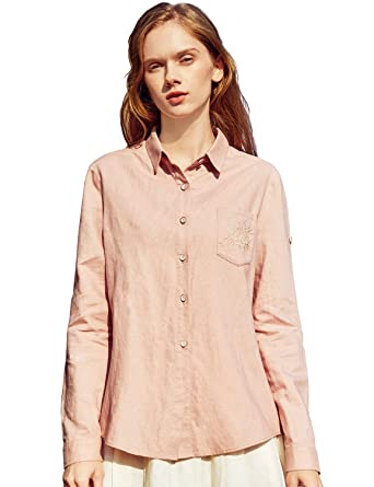 886ca6b0028 Artka Women s Boho Embroidery Button Down Shirt with Long Sleeve Linen  (Label ...