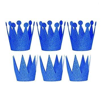 ANGTUO - Conjunto de 6 coronas para cumpleaños para niños y niñas, azul