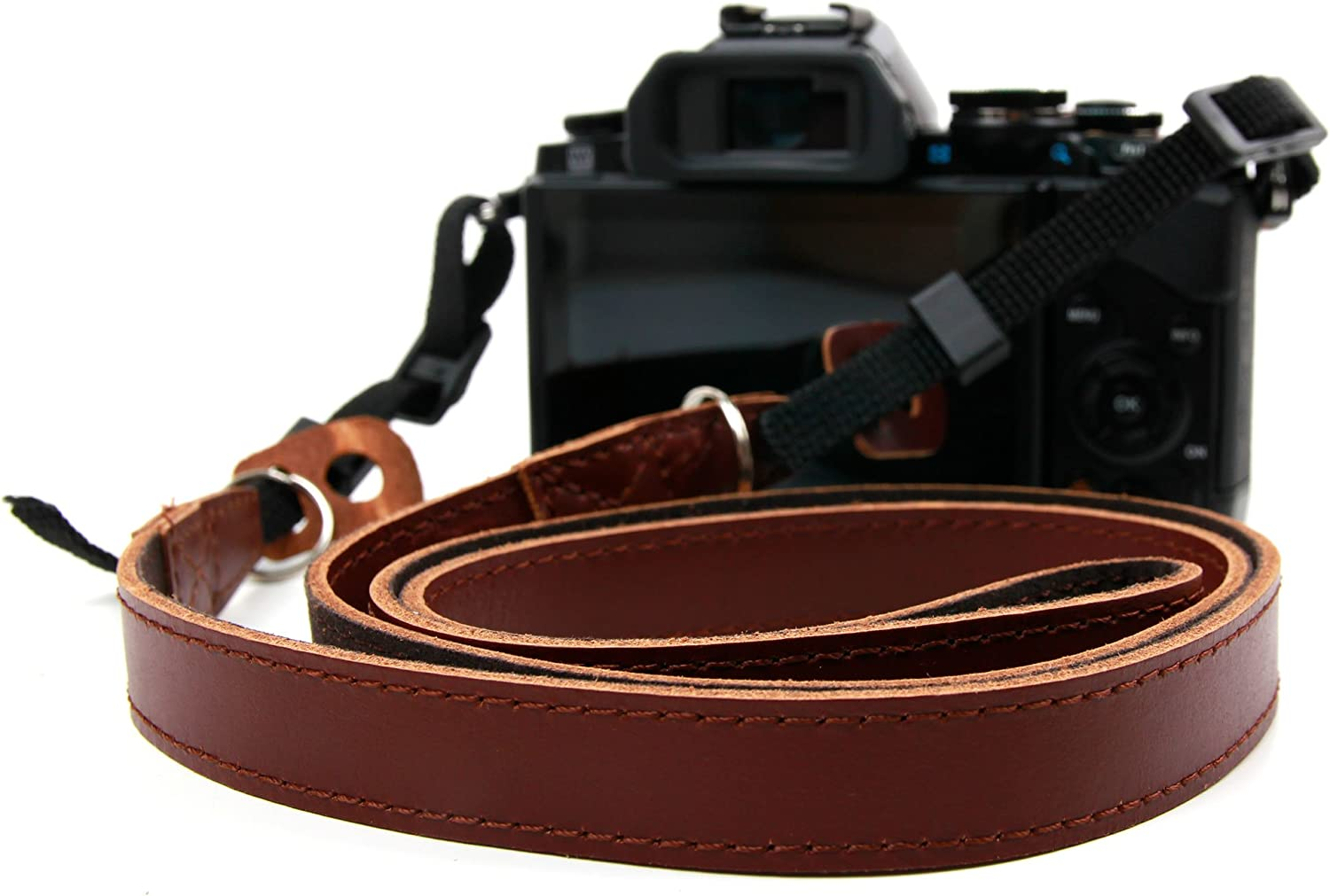Compatible with The Canon EOS M100 DURAGADGET Lightweight Genuine Brown Leather Vintage Neck Shoulder Belt Strap with Adjustable Length