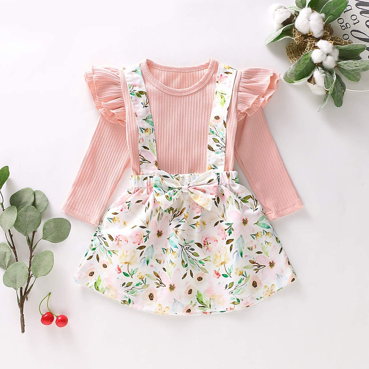 Borlai 1-6T Kinder M/ädchen Langarmshirt modischer R/üschenbody Strapsrock mit Blumenmuster niedliches Baby-Outfit-Set
