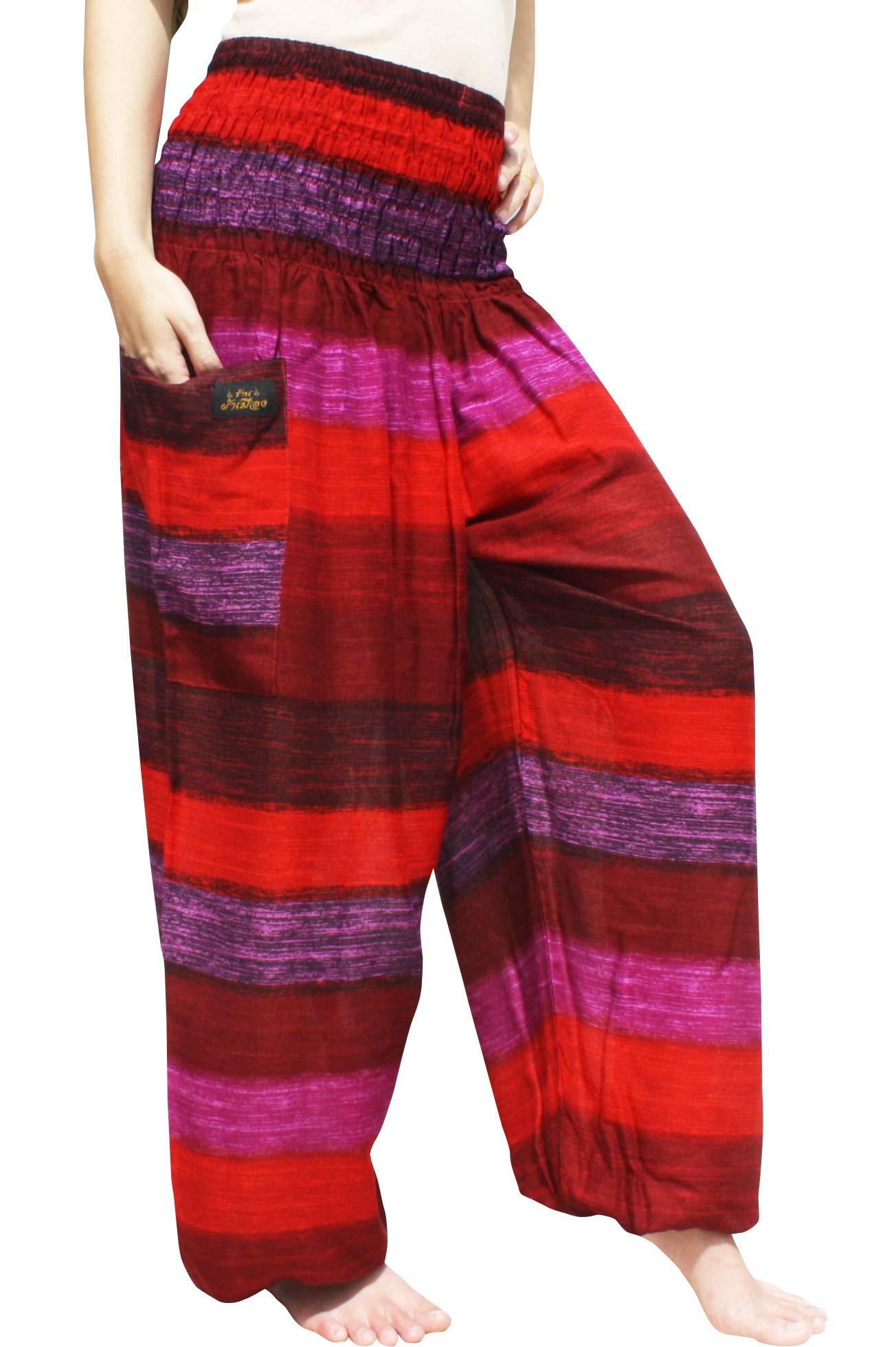 RaanPahMuang Brand Smock Waist Rayon Mixed Art Harem Baggy Aladdin Pants, Small, Rainbow Stripes - Red Violet by RaanPahMuang