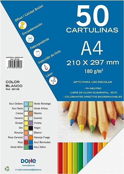 Dohe 30106 - Pack de 50 cartulinas, A4, color blanco: Amazon.es: Oficina y papelería
