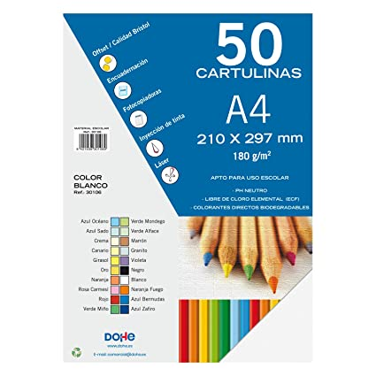 Dohe 30106 - Pack de 50 cartulinas, A4, color blanco