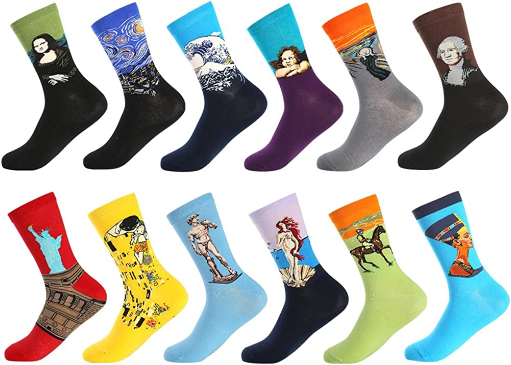 Mens Dress Cool Colorful Fancy Novelty Funny Casual Combed Cotton Crew Socks Pack Patterned Office Socks,Mid Calf Cool Crazy Socks Unique /& Striking Design