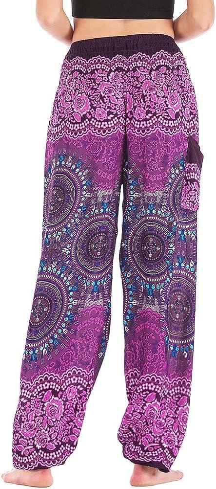 Nuofengkudu Donna Cotone Baggy Hippie Harem Pantaloni con Tasche Stampata Vita Alta Comode Leggere Indian Yoga Pantalone Bohemien Estivi Spiaggia