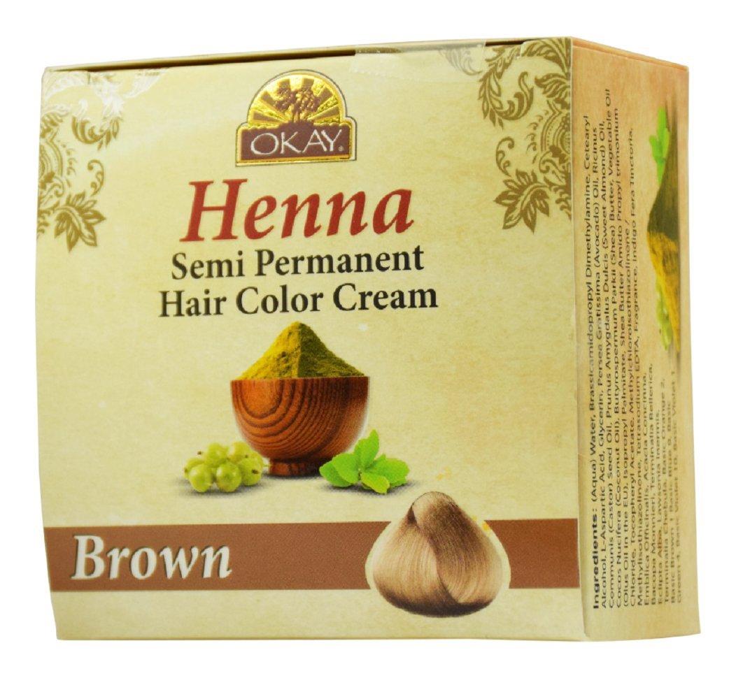 OKAY Henna semi permanent hair color cream brown 50gr/2oz Xtreme Beauty International 8.15166E+11