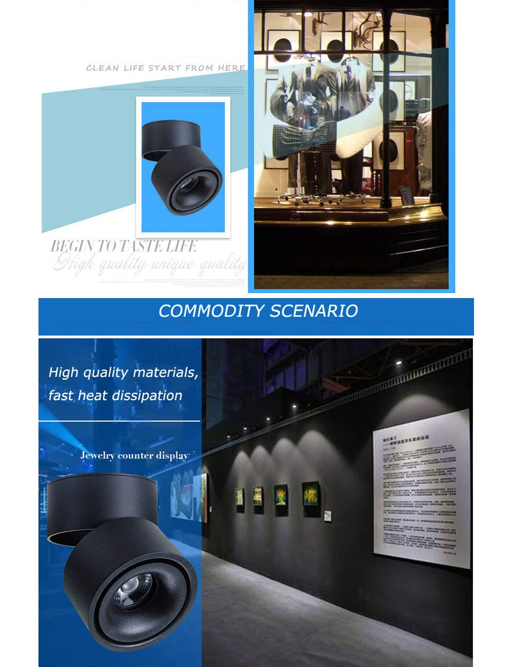 360/°Adjustable Aluminum,Rotatable for Kitchen Bathroom Corridor,10w 12w 15w SPDYCESS 1 X LED Surface Mounted COB Lighting Spotlight Ceiling Downlight