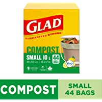 Glad 100% Compostable Bags - Small 10 Litres - Lemon Scent, 44 Trash Bags