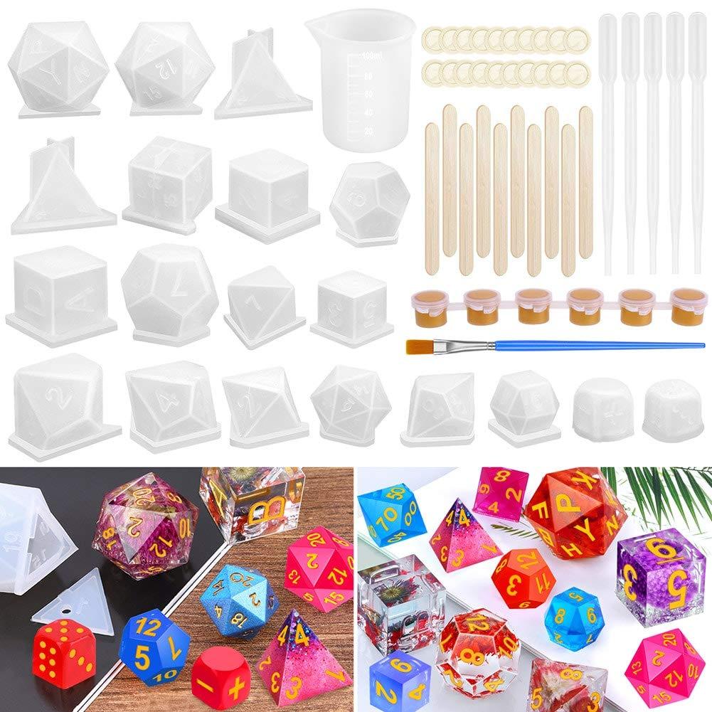 Moldes de silicona e insumos para resina, dados (19 estilos)