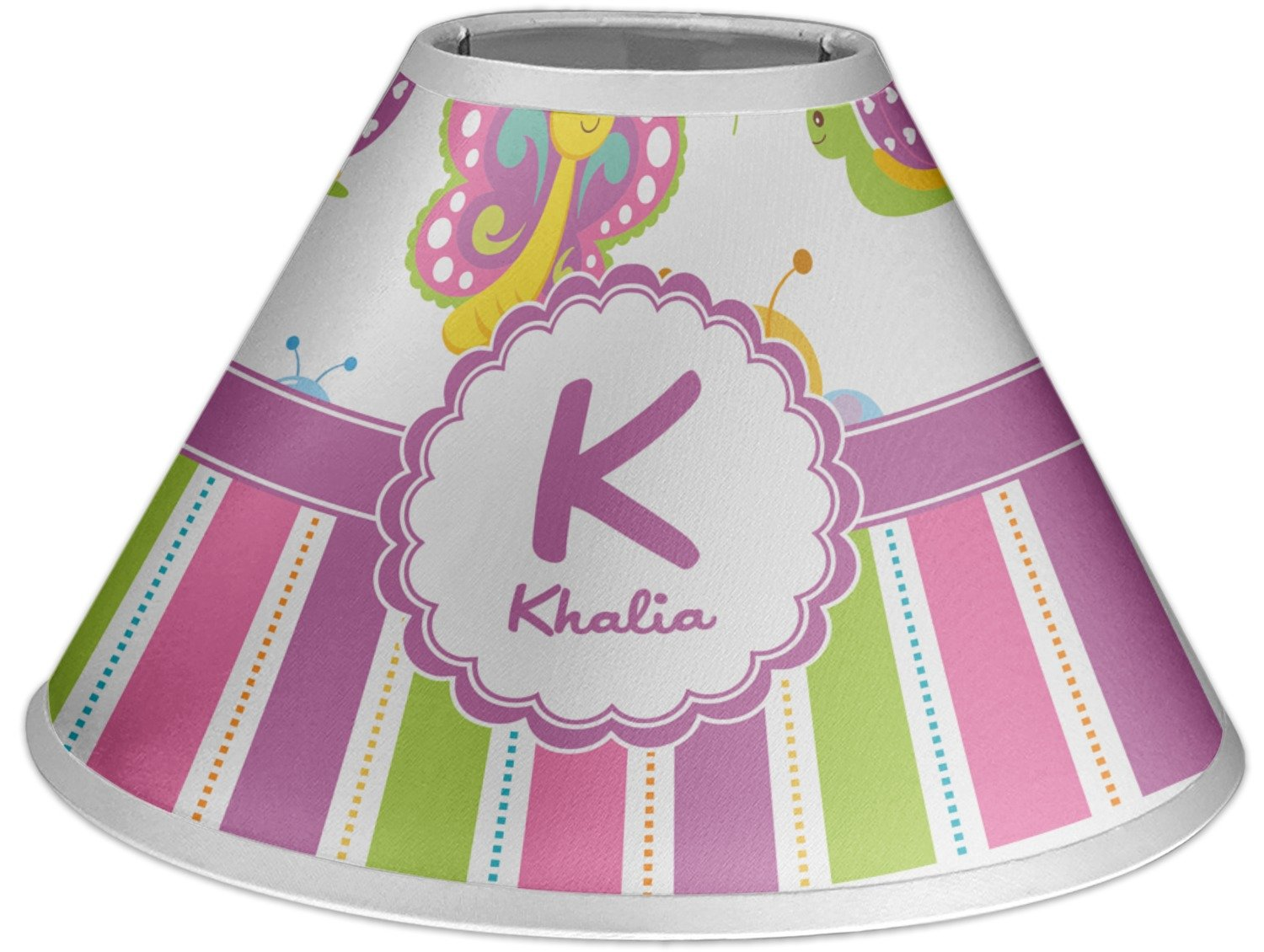 RNK Shops Butterflies & Stripes Coolie Lamp Shade (Personalized)