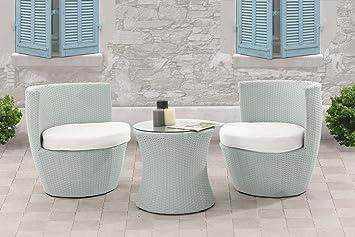 Miliboo - Salon de jardin totem résine tressée table et chaises gris ...
