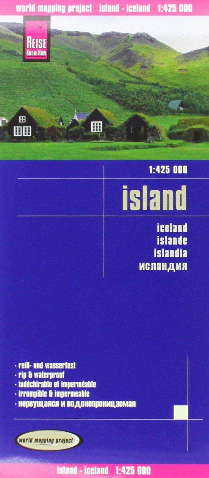 Reise Know-How Landkarte Island (1:425.000): world mapping project: Exakte Höhenlinien. Höhenschichten-Relief. GPS-tauglich durch Gradnetz. Klassifiziertes Straßennetz. Ausführlicher Ortsindex