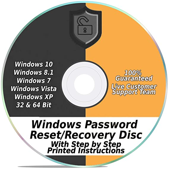 Windows Password Reset Recovery Disk Windows 10, 8 1, 7, Vista, XP #1 Best  Unlocker Remove Software CD DVD (For All PC Computers)