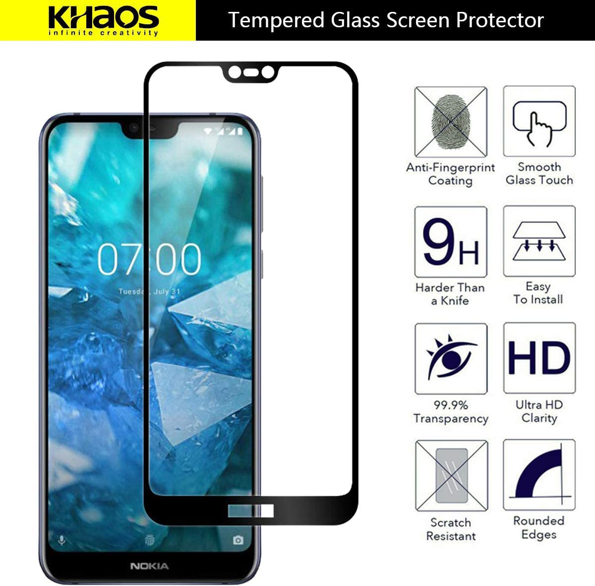 4 Pack KHAOS Anti-Scratch -Black Tempered Glass for Nokia 7.1 Screen Protector for Full Coverage Screen Protector for Nokia 7.1 5.84 Inch