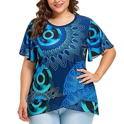 LILICAT® Camisetas Tallas Grandes para Mujer (L ~ 5XL), 2018 Blusa de