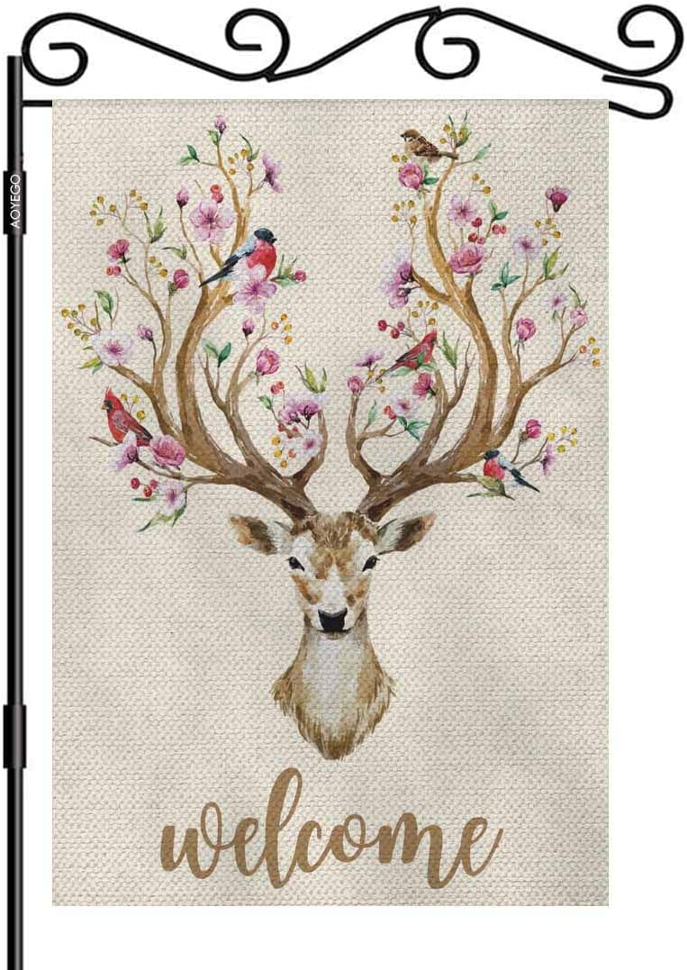 AOYEGO Deer Welcome Garden Flag Small Vertical Double Sided 12.5 x 18 Inch Watercolor Deer Big Antlers Flowers and Birds on The Horns Burlap Yard Outdoor Decor