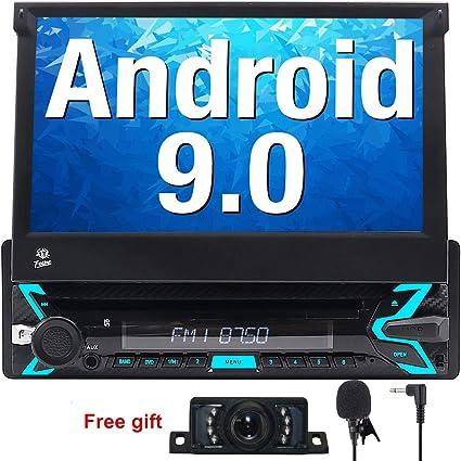 FOIIOE Android 9.0 Autoradio 1 DIN pour Voiture Compatible GPS Navigateur, DVD, Bluetooth, Subwoofer, Mirror-Link, Commande au Volant, WiFi, USB, SD, avec écran Tactile 7