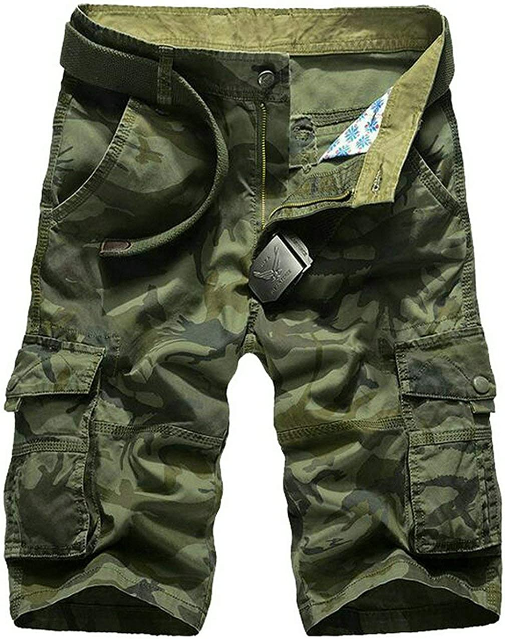 MK988 Mens Summer Multi Pockets Military Camo Cotton Rugged Washed Cargo Shorts