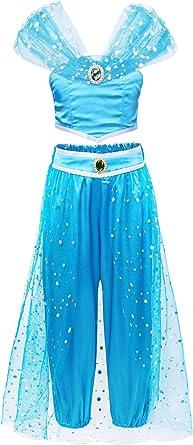 Jurebecia Disfraz de Princesa para Niña Jasmine Vestidos de Fiesta ...