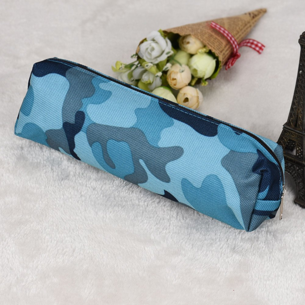 2 Colors Camouflage Pen Bag Pencil Case Pouch Stationery Cosmetic Makeup Bag uf (Blue) by Clearance! Bookear (Image #2)