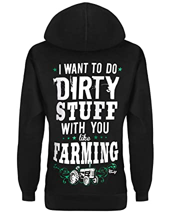 7b5cad066bb9 Cute n  Country Hoodie  I Want to Do Dirty Stuff with You Like Farming Black  at Amazon Women s Clothing store