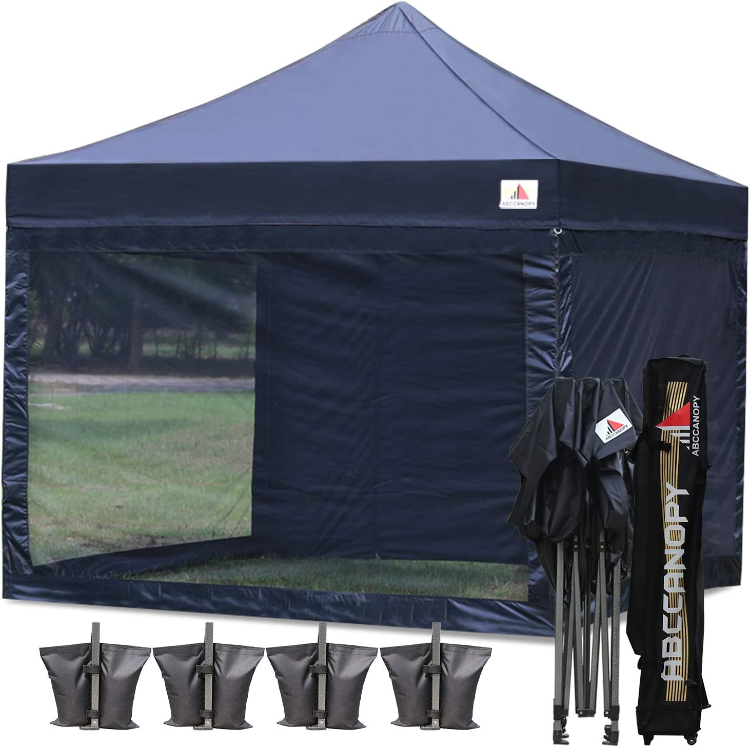 ABCCANOPY 10x10 Pop up Canopy Tent Commercial Tents with White Mesh Walls Camping Screen & Mesh House Bonus Rolly Carry Bag and 4X Weight Bag, 30+Colors 71wAt2MC4tL