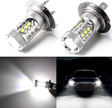 LED 50W H7 White 5000K Two Bulbs Head Light High Beam Replace Lamp Show Use